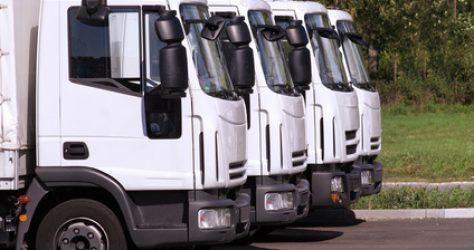 Trucks in row